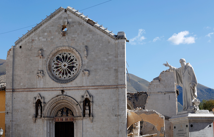 The Basilica of St. Benedict in the ancient city of Norcia is seen on Oct. 31, 2016 following an earthquake in central Italy. Photo courtesy of Reuters/Remo Casilli