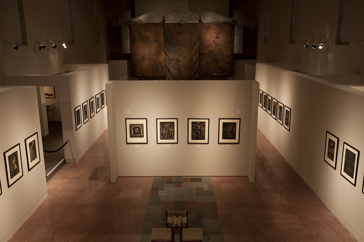 """Georges Rouault: Miserere et Guerre,"" installation at Museum of Contemporary Religious Art at St. Louis University, 2016. Photo by Jeffrey Vaughn, courtesy of MOCRA"