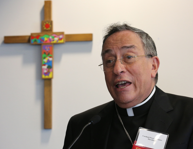 Honduran Cardinal Oscar Rodriguez Maradiaga at Bread for the World headquarters in Washington, June 3, 2014 (Bob Rollers/CNS).