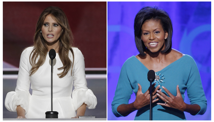 Melania Trump and Michelle Obama make party convention speeches in file photos (Reuters Pictures).