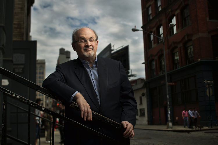 Sir Salman Rushdie in New York City, Aug. 21, 2015 (Writer Pictures via AP Images)