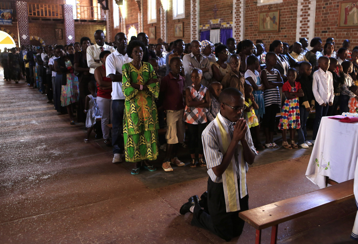 Remembering the victims during Mass at St. Famille Church in Kigali on April 6.