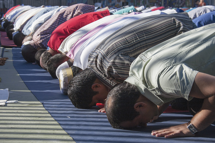 GOD IS GREATER. Muslims celebrating Eid al-Fitr, which marks the end of the month of Ramadan, in Madrid, Spain.