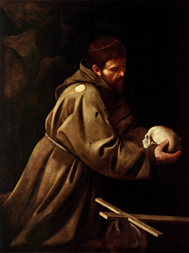 St. Francis in prayer, painted by Caravaggio (Public Domain image)