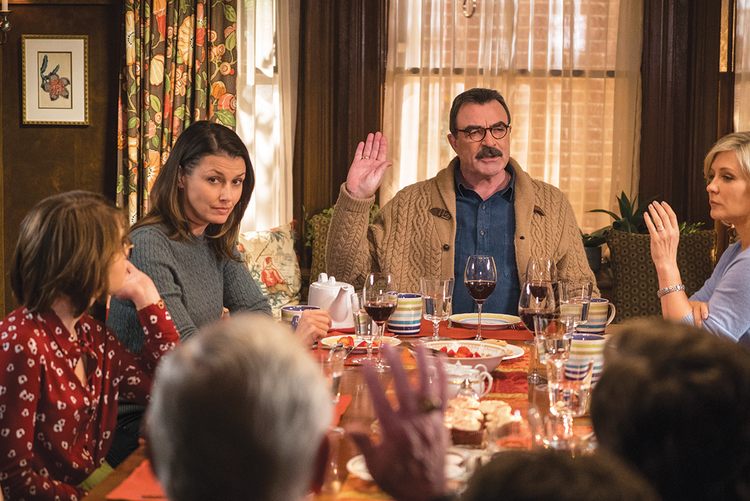 "A FAMILY TRADITION. The Reagan family at Sunday dinner in ""Blue Bloods."""