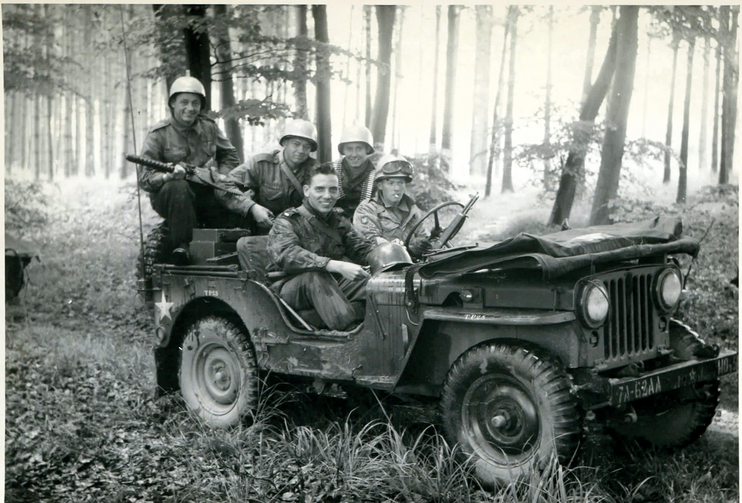OVER THERE. The author, front left, with other members of the 62nd Anti-Aircraft Artillery Batallion during maneuvers near Mannheim, Germany.