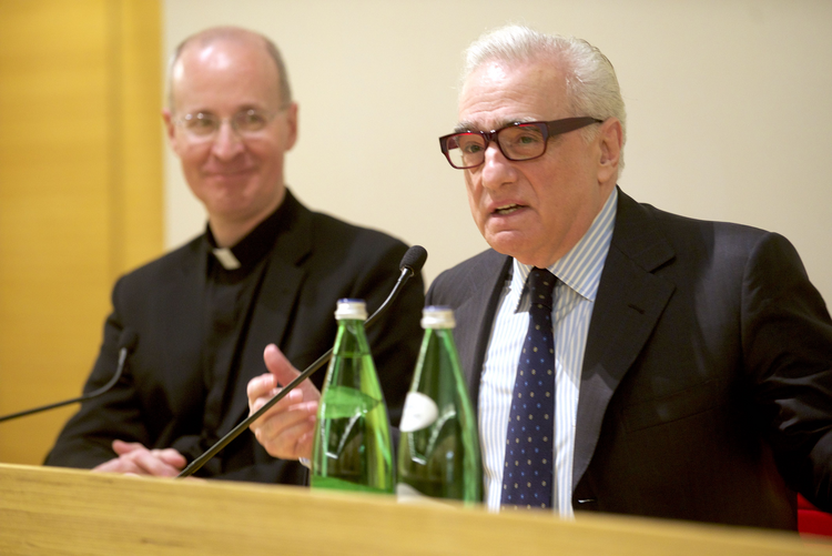 "Martin Scorsese with James Martin, S.J. Scorsese screened his latest film ""Silence"" to over 300 Jesuit priests and brothers at the Pontifical Oriental Institute in Rome. (Photo: Jeremy Zipple, S.J.)"
