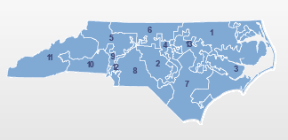 Are North Carolina's grotesquely shaped congressional districts to blame? (image from census.gov/mycd)