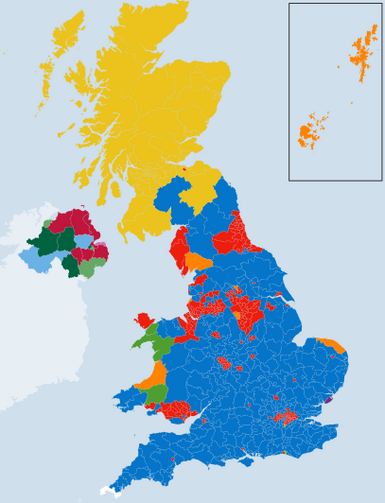 The Conservative Party (blue) has won a narrow majority in the House of Commons, but the SNP (gold) has established a virtual one-party state in Scotland. (BBC map from http://www.bbc.com/news/election/2015/results)
