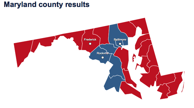 Barack Obama won 62 percent in Maryland in 2012, carrying the city of Baltmore and five out of 23 counties. (Map from NBCNews.com)