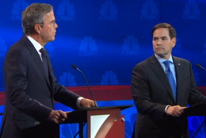 Jeb Bush, at left, was unprepared for how prepared Marco Rubio would be for his attack. (Image from video.cnbc.com.)