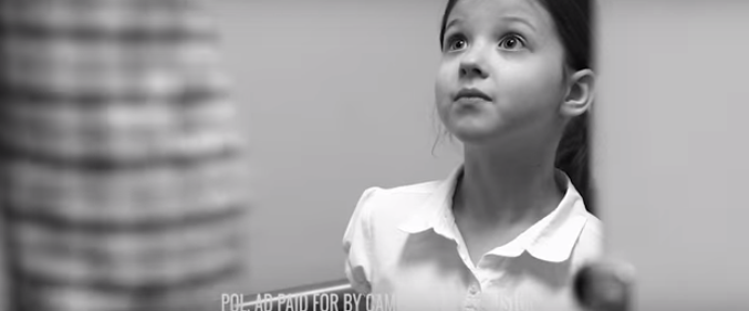 The most widely aired commercial against the Houston anti-bias law ended with a little girl being cornered in a public bathroom. (Image from www.campaignforhouston.com)