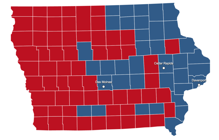 Iowa has been closely contested in recent general elections. In 2012, Barack Obama carried the state thanks to urban centers like Des Moines and river cities along the eastern border. (Image from http://elections.nbcnews.com)