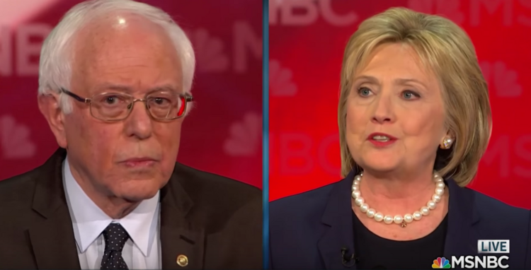 "Hillary Clinton says ""only"" Bernie Sanders could consider her part of the establishment."