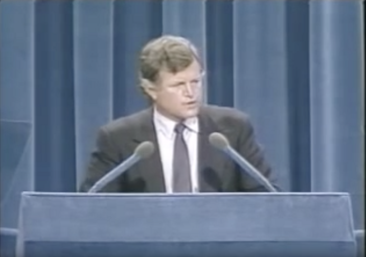 Edward Kennedy speaks at the 1980 Democratic National Convention. (Image from YouTube video, uploaded by the John F. Kennedy Presidential Library and Museum)