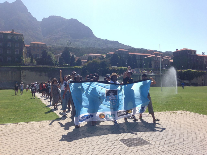 Protest at the University of Cape Town calling for student fees and debts to be lowered, one of a number of such protests across South Africa on Oct. 20, 2015. Photo by Discott