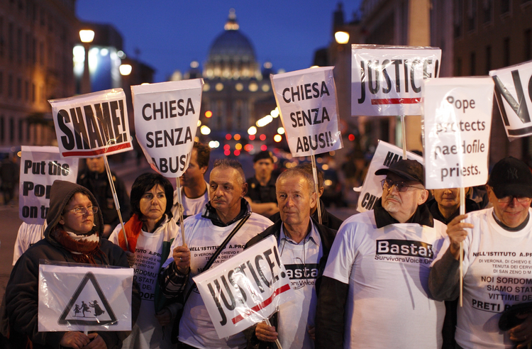 Survivors of abuse demonstrate in Rome in 2010.