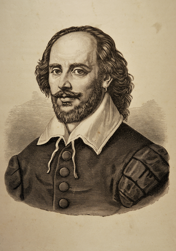 "Illustration of William Shakespeare taken from the ""Dramatic Works by William Shakespeare"" (Russian Translation) issued in Moscow, Russia in 1880."