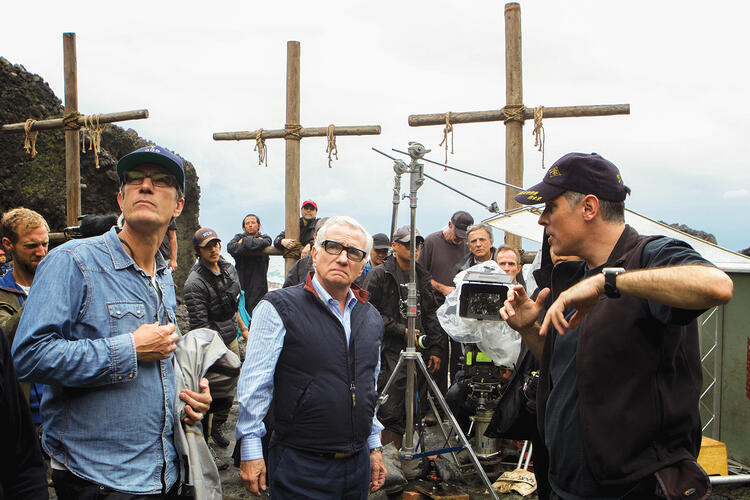Director Martin Scorsese on the set of 'Silence'