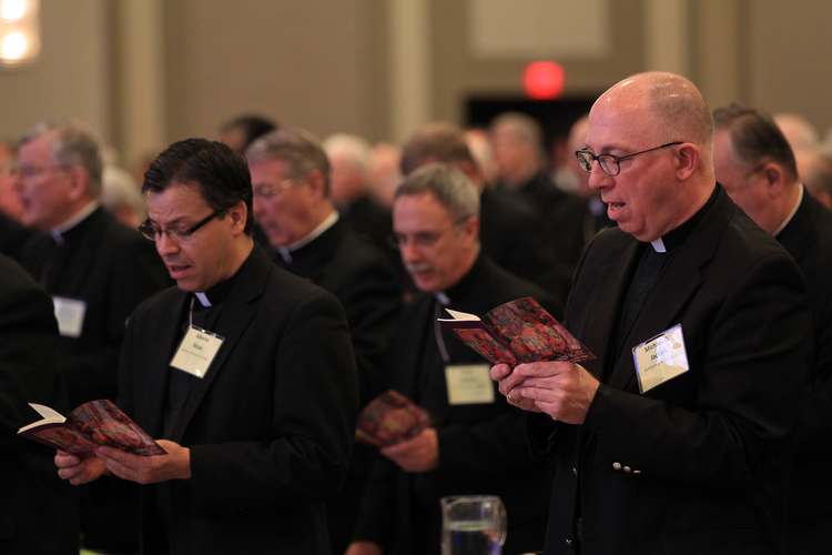 Bishops sing June 11 during the opening prayer of the annual spring meeting of the U .S. Conference of Catholic Bishops in New Orleans.