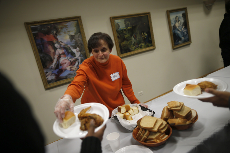 A free dinner service provided by Chicago Catholic Charities