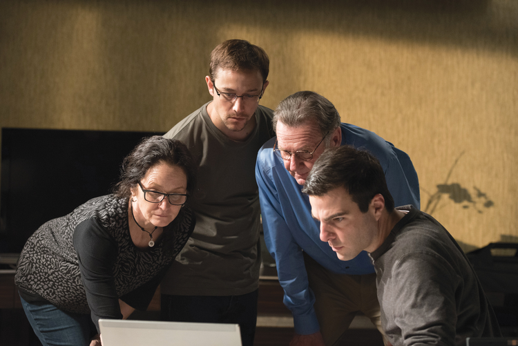 Melissa Leo as Laura Poitras, Joseph Gordon-Levitt as Edward Snowden, Tom Wilkinson as Ewen MacAskill and Zachary Quinto as Glenn Greenwald in Oliver Stone's 'Snowden'