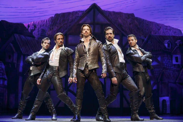"STUPID OR CLEVER? Ryan VanDenBom, Eric Sciotto, Christian Borle, Bud Weber and Aleks Pevek in ""Something Rotten!"""