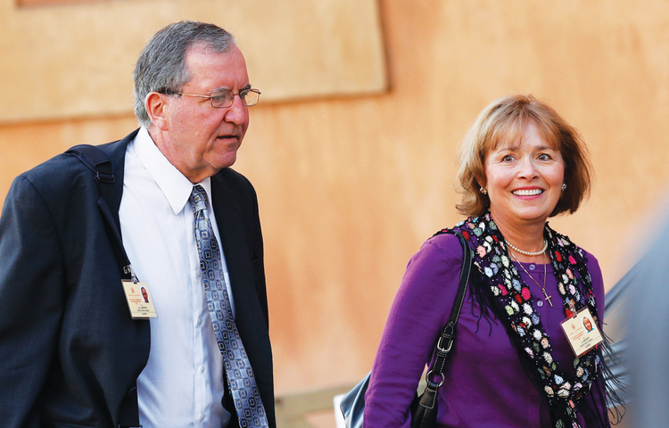 MARRIAGE COUNSELORS. Jeff and Alice Heinzen arrive at the Extraordinary Synod of Bishops on the Family last October.