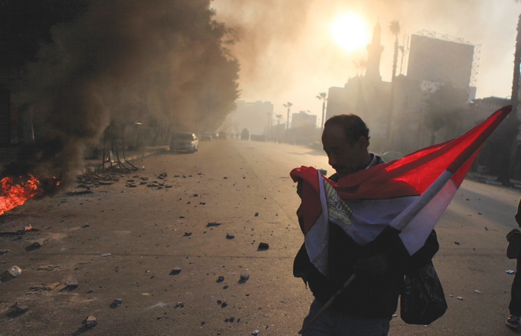 Crisis in Cairo: An anti-government protester near Tahrir square.