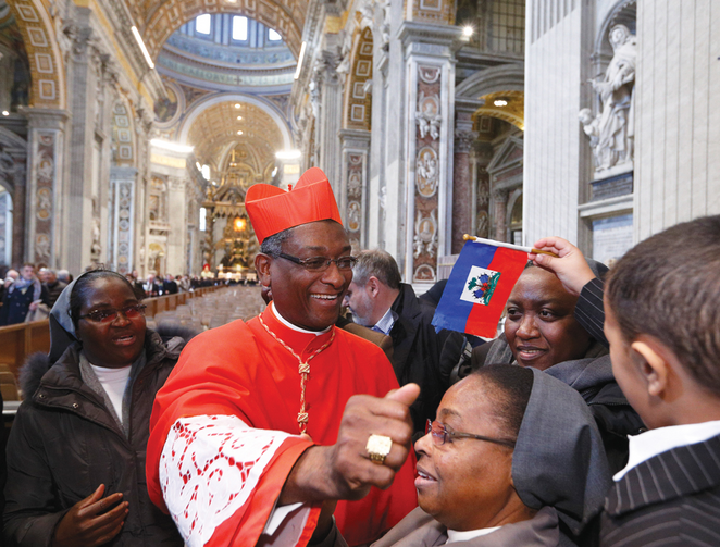 ELEVATION. Cardinal Chibly Langlois of Les Cayes, Haiti, greets guests after he was made a cardinal by Pope Francis at St. Peter's Basilica on Feb. 22.