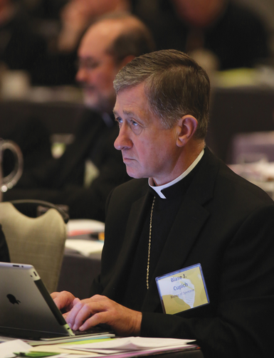 HIS KIND OF TOWN. Bishop Blase Cupich of Spokane, Wash. at a meeting of the U .S. Conference of Catholic Bishops in New Orleans in June 2014.
