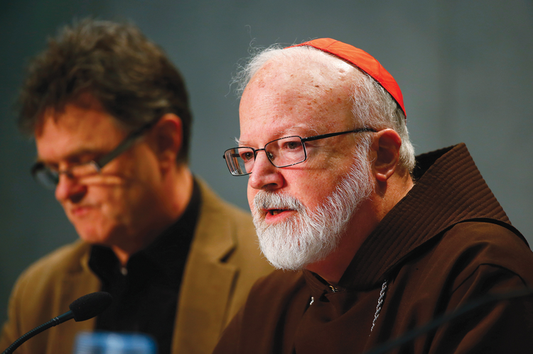 NEXT STEPS. Peter Saunders, left, and Cardinal Seán Patrick O'Malley, O.F.M.Cap., at a press conference on Feb. 7.