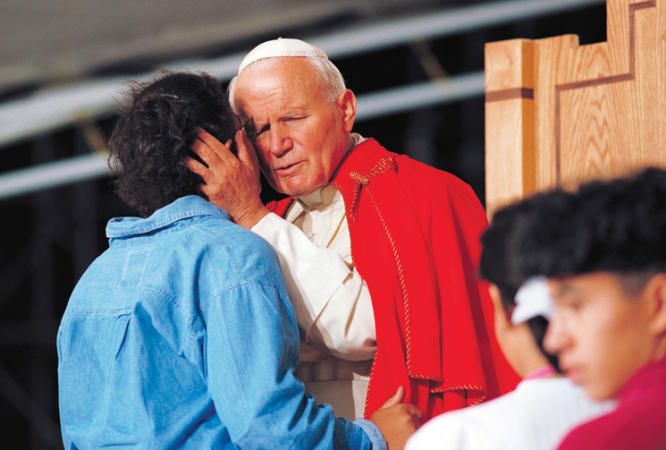 Blessed John Paul II, during the closing Mass of World Youth Day in 1993.