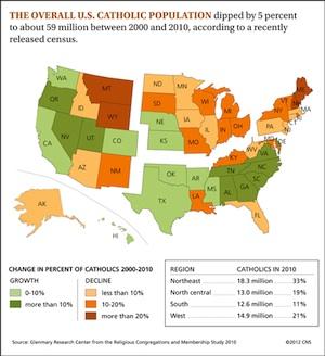 US Catholic Population At 59 Million America Magazine - Percentage Of Catholics Us Map
