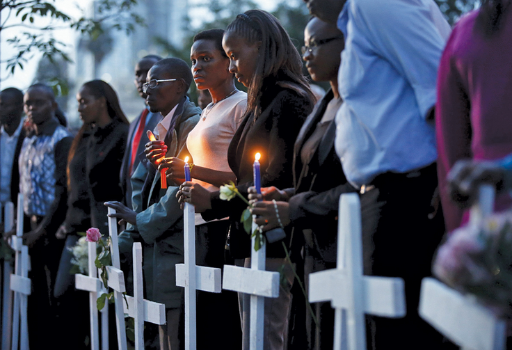 FTERSHOCK. A memorial vigil in Nairobi, Kenya, on April 7 for the 148 or more people killed in an attack on Garissa University College.