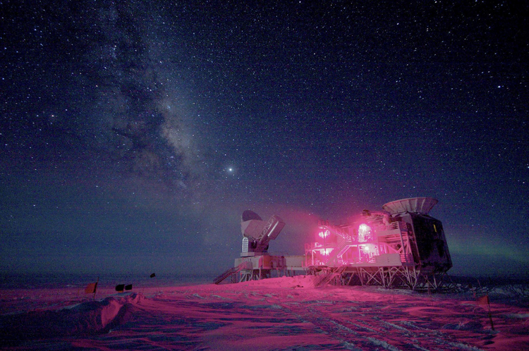 The 10-meter South Pole Telescope and the Background Imaging of Cosmic Extragalactic Polarization experiment, or Biceps2, at Amundsen-Scott South Pole Station.