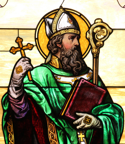 St. Patrick is depicted in a stained-glass window at the Co-Cathedral of St. Joseph in Brooklyn, N.Y. (CNS photo/Gregory A. Shemitz)