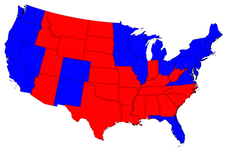 State map of the 2012 presidential election results (Image by Mark Newman, Department of Physics and Center for the Study of Complex Systems, University of Michigan)