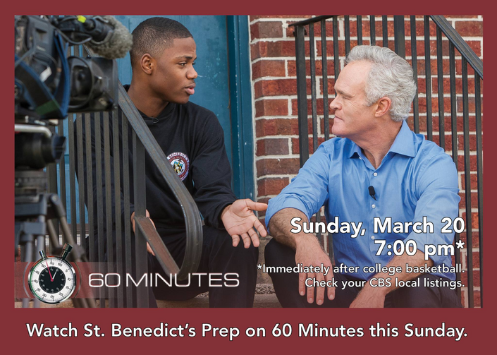St. Benedict's will be profiled on 60 Minutes this weekend.