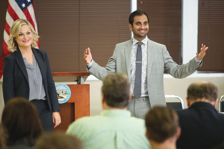 "TOWN HALL TV. Amy Poehler and Aziz Ansari in ""Parks and Recreation"""