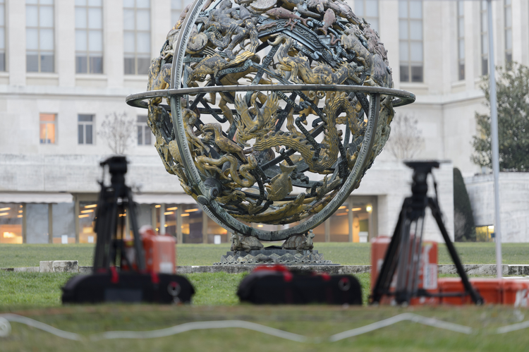 Camera tripods sit in front the United Nations building before the planned beginning of negotiations between the Syrian government and the opposition in Geneva, Switzerland, Friday, Jan. 29, 2016. (Martial Trezzini/Keystone via AP)