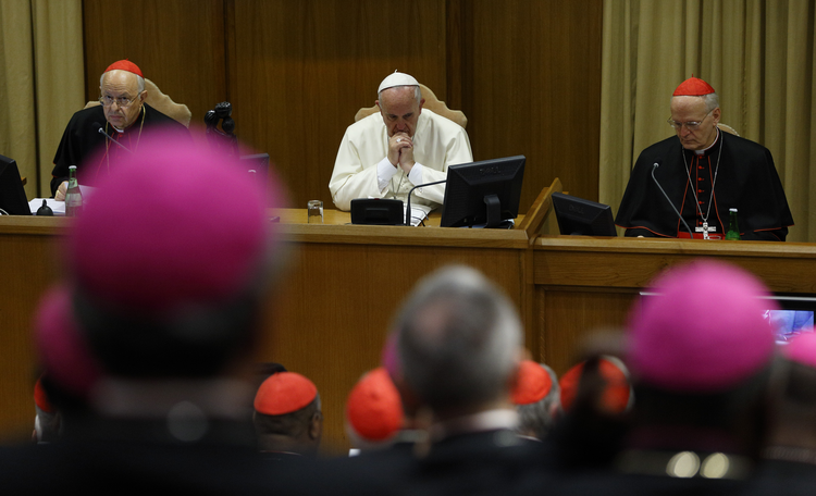 Pope Francis attends the morning session on the final day of extraordinary Synod of Bishops on the family at Vatican, Oct. 18.