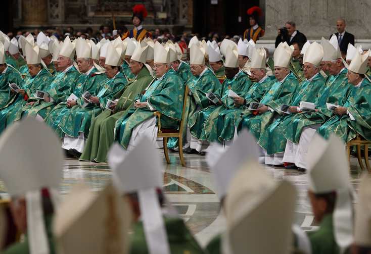 Prelates attend the opening Mass of the Synod of Bishops on the family celebrated by Pope Francis in St. Peter's Basilica at the Vatican, Oct. 4 (CNS/Paul Haring).