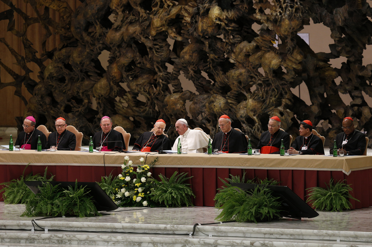 Pope Francis, leaders of the Synod of Bishops on the family and top officials attend event marking 50th anniversary of Synod of Bishops at Vatican, Oc. 17 (CNS Photo / Paul Haring).
