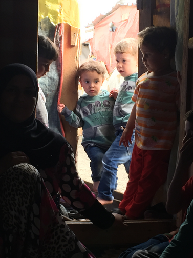 Finding refuge. Syrian children at a camp just a few miles from the Lebanon-Syria border.