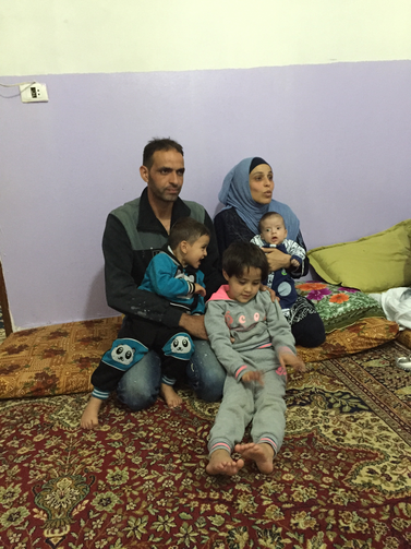 Mouhammad Amin El Oujali, his wife Zarifa El Aquad and their three children: May, 5; Fayasal, 2; Layah, 2-months. They will leave for Italy on May 3 with Humanitarian Corridors, a new ecumenical relief effort.