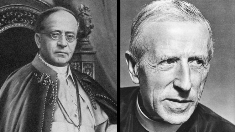 Pope Pius XI and Pierre Teilhard de Chardin, S.J. (Images: Wikimedia Commons/Composite: America)