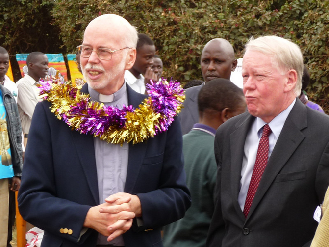 Terry Charlton, S.J., with U.S. Ambassador Michael Ranneberger at the groundbreaking of St. Aloysius School in Nairobi (Midwest Jesuits)
