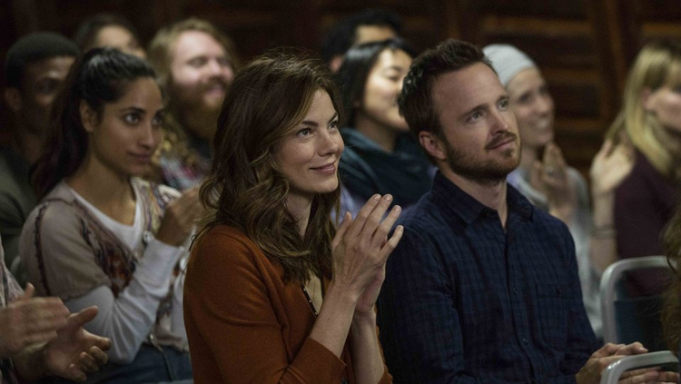 "A VIEW FROM THE INSIDE. Michelle Monaghan and Aaron Paul in ""The Path."""