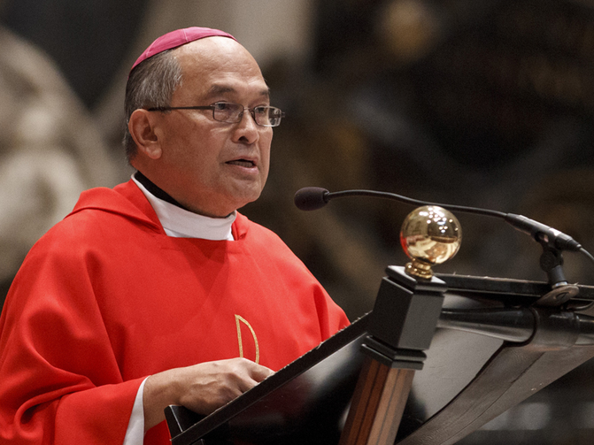Archbishop Anthony S. Apuron of Agana, Guam, gives the homily during an Oct. 22, 2012 Mass of thanksgiving in St. Peter's Basilica at the Vatican for the canonization of St. Pedro Calungsod. Photo by Paul Haring, courtesy of Catholic News Service